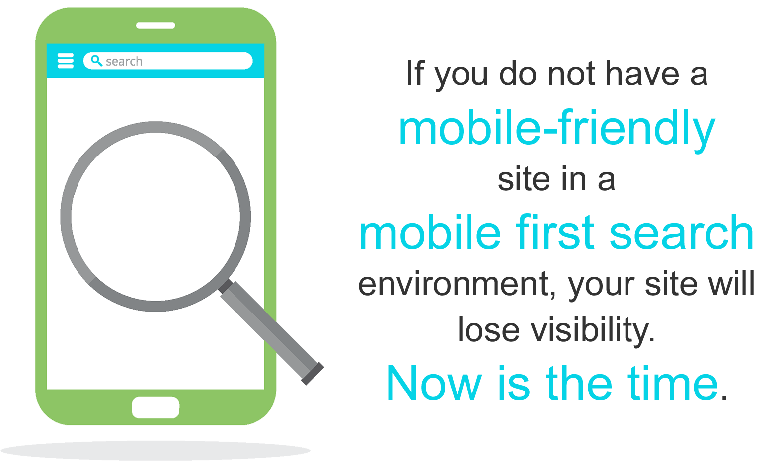 If you do not have a mobile-friendly site in a mobile first search environment, your site will lose visibility. Again, now is the time.