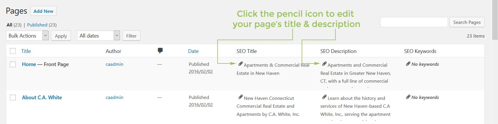 Quickly add and edit your pages' title and description via All In One SEO's quick editor directly on the main Pages or Posts page