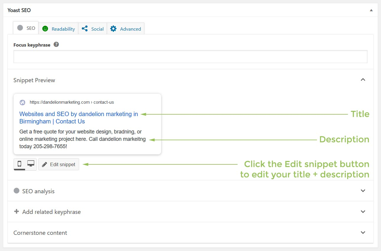 Yoast's title & description editor appears at the bottom of your page or post.