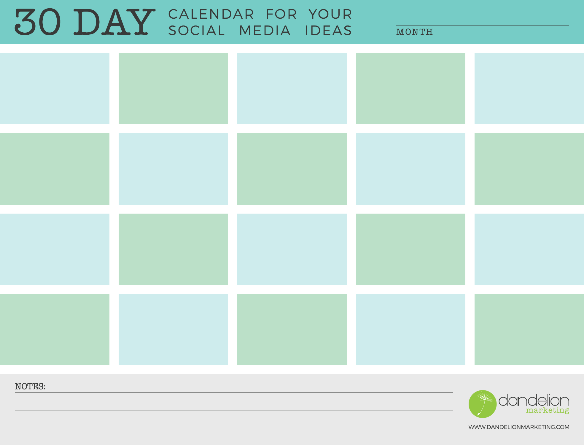 30 Day Calendar for Your Social Media Ideas