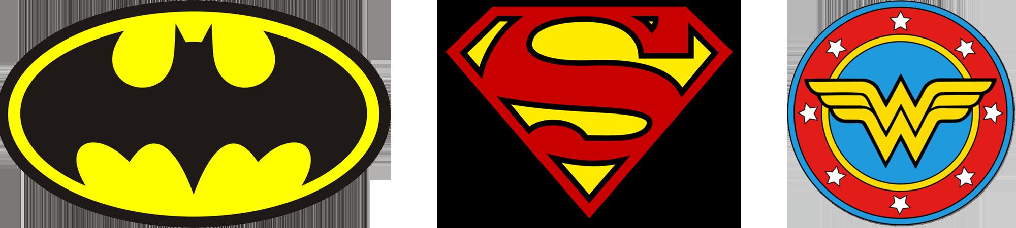 Superhero logos that implement yellow