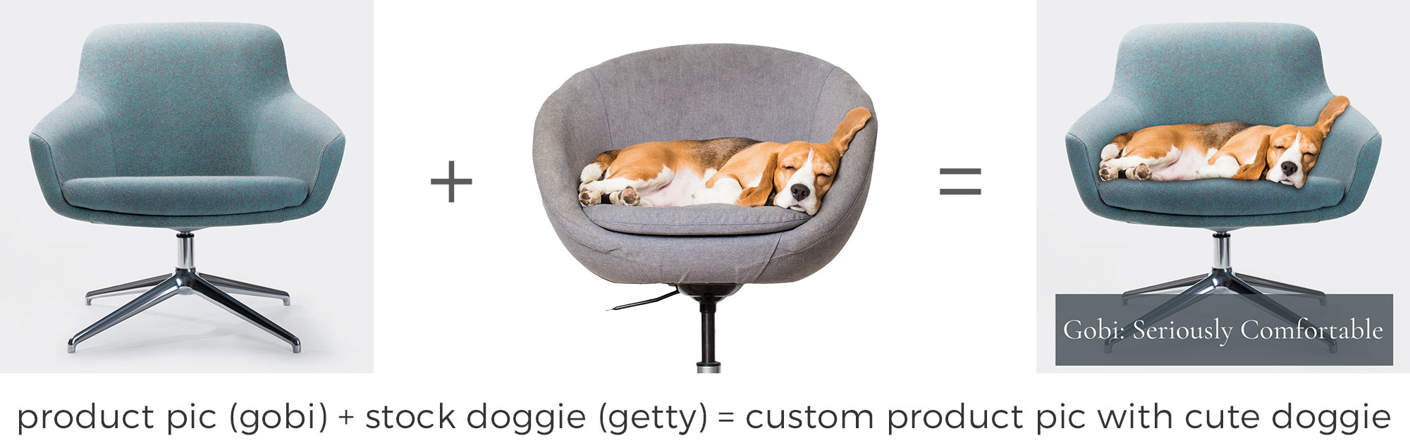 product pic (gobi) + stock doggie (getty) = custom product pic with cute doggie