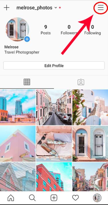 Screenshot of hamburger menu to access account settings in Instagram