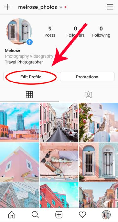 Screenshot for how to edit Instagram profile settings