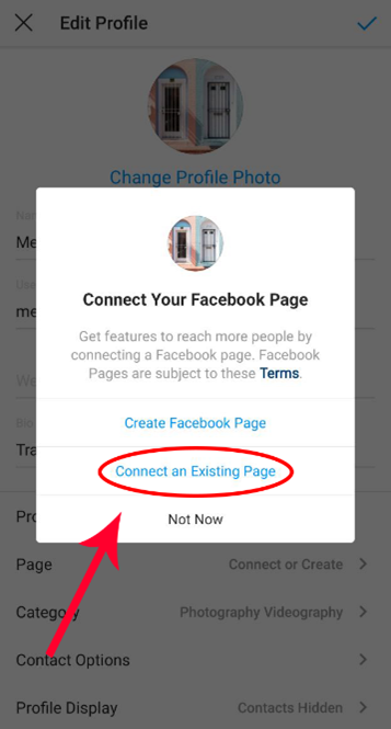 Screenshot to connect to an existing Facebook page